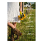 Bride Boots Sunflowers Country Post Wedding Brunch Custom Announcements
