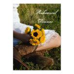 Bride, Boots & Sunflowers Wedding Rehearsal Dinner Custom Invitations