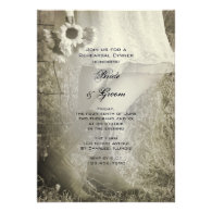 Bride, Boots & Sunflowers Wedding Rehearsal Dinner Personalized Invites
