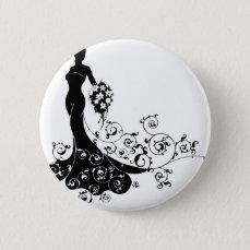 Bride Bouquet Wedding Silhouette Concept Button