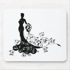 Bride Bouquet Wedding Silhouette Concept Mouse Pad