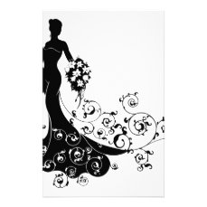 Bride Bouquet Wedding Silhouette Concept Stationery