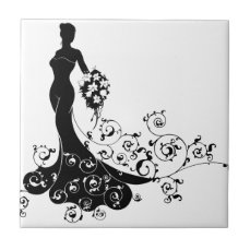 Bride Bouquet Wedding Silhouette Concept Tile