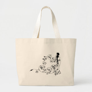 Bride bridal dress silhouette abstract canvas bag