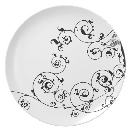 Bride bridal dress silhouette abstract dinner plates