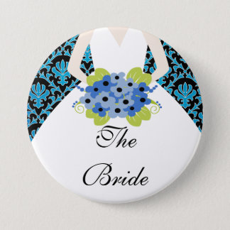 Bride Bridal Party  Button / Pin Damask Royal Blue