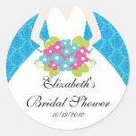 Bride Bridal Shower Sticker Seal Damask Blue