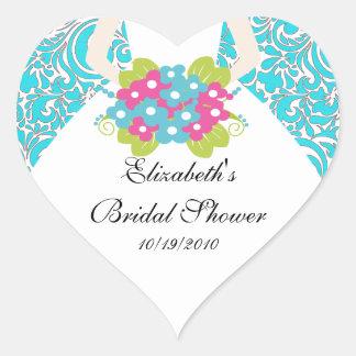 Bride Bridal Shower Sticker Seal Damask Turquoise