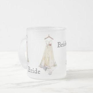 Bride Bridal Shower Wedding Dress Party Favor Frosted Glass Coffee Mug