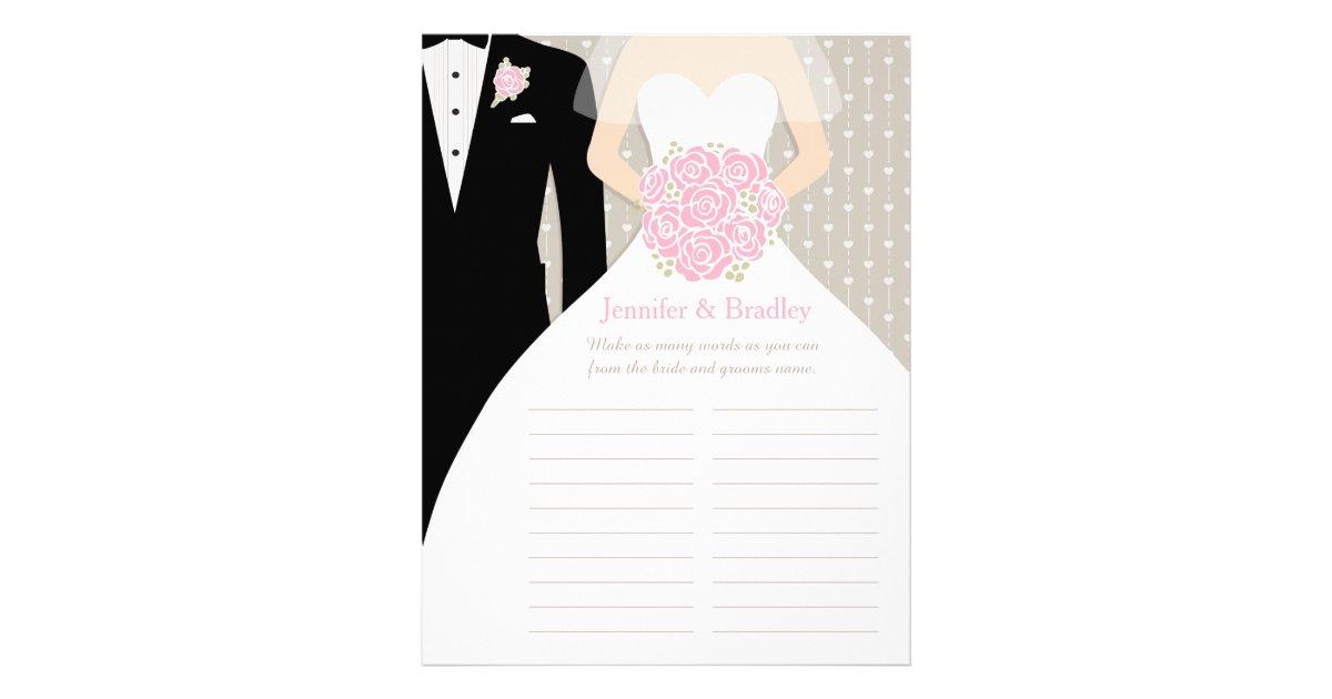 Bride Bridal Shower Word Game Pink Posy Dress Flyer