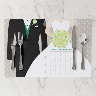 Bride Bridal Shower Word Search Game green dress Paper Placemat