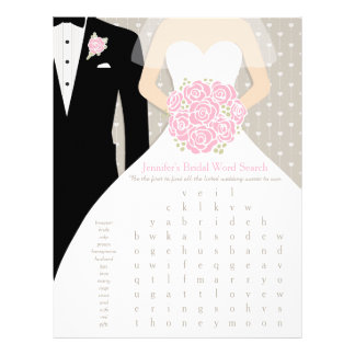 Bride Bridal Shower Word Search Game pink dress Flyer