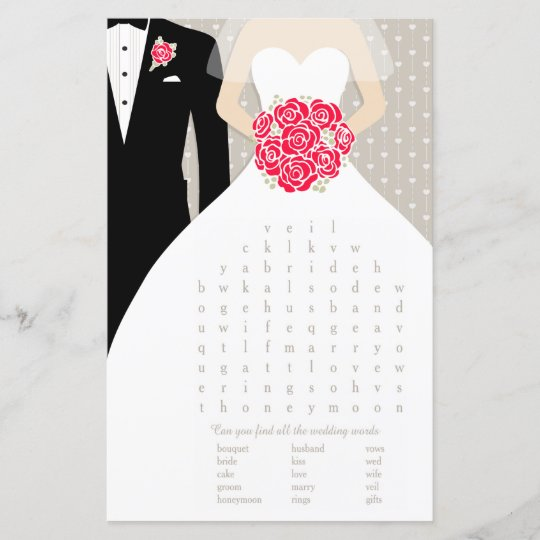 bride bridal shower word search game red dress