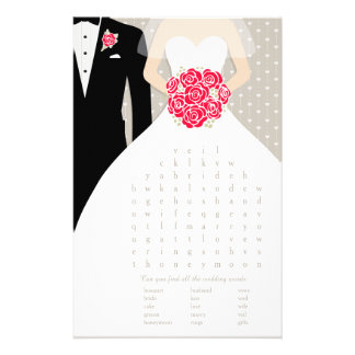 Bride Bridal Shower word search game red dress Flyers