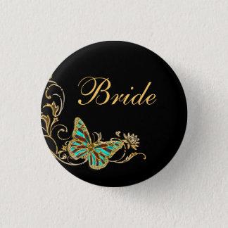 Bride bridal wedding black gold button