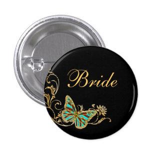 Bride bridal wedding black gold 1 inch round button
