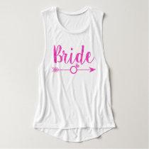 Bride   Bride Tribe Ring Glitter-Print Hot Pink Tank Top