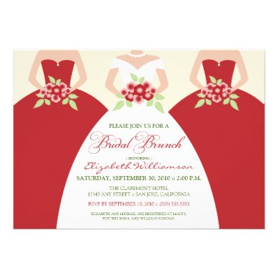 Bride & Bridesmaids Bridal Brunch Invitation (red)
