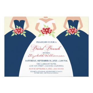 Bride Bridesmaids Bridal Brunch Invite navy