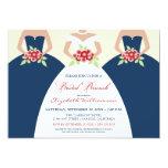 "Bride & Bridesmaids Bridal Brunch Invite (navy) 5"" X 7"" Invitation Card"