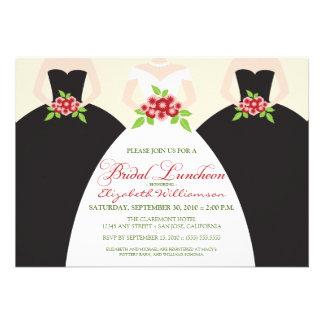 Bride Bridesmaids Bridal Luncheon Invite black