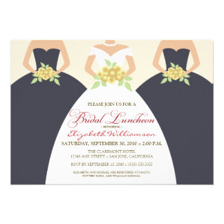 Bride Bridesmaids Bridal Luncheon Invite grey