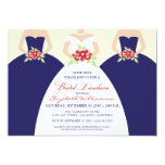 "Bride & Bridesmaids Bridal Luncheon Invite (navy) 5"" X 7"" Invitation Card"