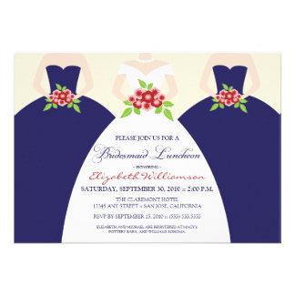 Bride Bridesmaids Bridal Luncheon Invite navy