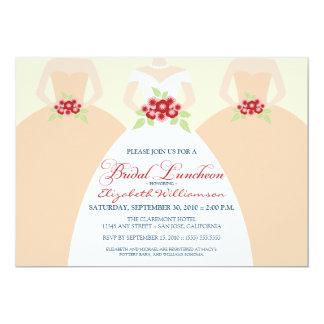 """Bride & Bridesmaids Bridal Luncheon Invite (peach) 5"""" X 7"""" Invitation Card"""