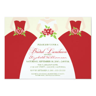 """Bride & Bridesmaids Bridal Luncheon Invite (red) 5"""" X 7"""" Invitation Card"""