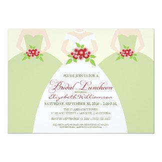 """Bride & Bridesmaids Bridal Luncheon Invite (sage) 5"""" X 7"""" Invitation Card"""