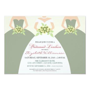 Bride Themed Bride & Bridesmaids Bridal Luncheon (sage green) Card