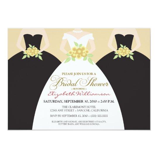 Bride & Bridesmaids Bridal Shower Invite (black)