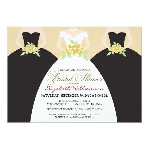 """Bride & Bridesmaids Bridal Shower Invite (black) 5"""" X 7"""" Invitation Card"""