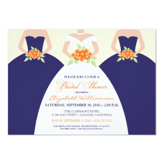 Bride & Bridesmaids Bridal Shower Invite (navy)