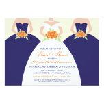 "Bride & Bridesmaids Bridal Shower Invite (navy) 5"" X 7"" Invitation Card"