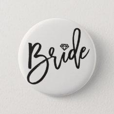 Bride Brush Diamond Wedding Bridal Party Button at Zazzle