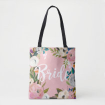 Bride Brushed Floral Wedding Party Pink Tote Bag