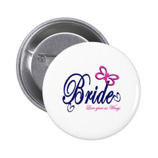 Bride/ Butterfly theme Pinback Button