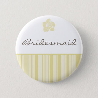 Bride Button-Modern Stripes (Yellow) Pinback Button