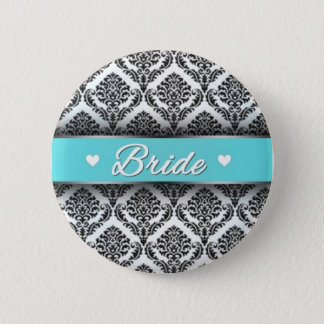 Bride Button with Tiffany Blue-ish Color Scheme