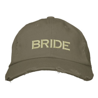 Bride cap in army green embroidered hat