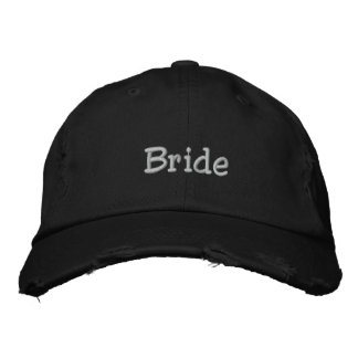 Bride cap in basic black embroidered hats