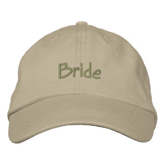 Bride cap in  khaki with green font embroidered baseball cap