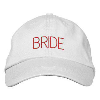 Bride cap in white with bright red font embroidered hat