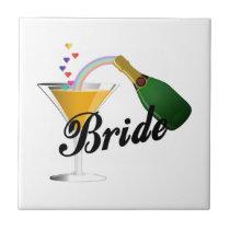 Bride Champagne Toast Ceramic Tile