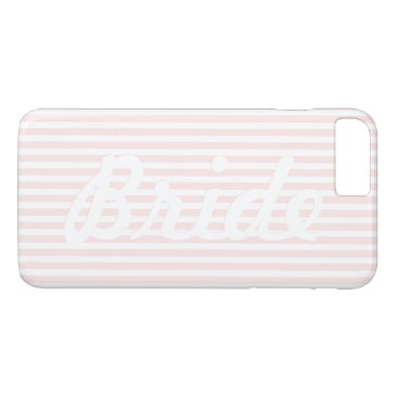 Beach Themed Bride Charlotte Pink and White Stripes iPhone 7 Plus Case