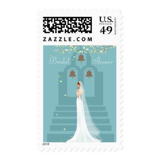 Bride, Church Steps & Bells Bridal Shower Postage Stamps