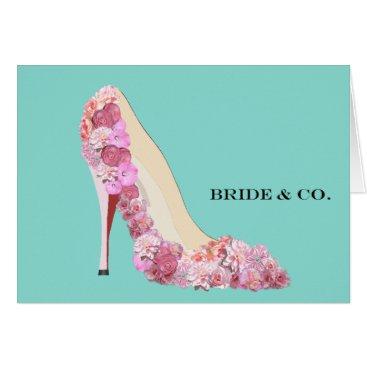 McTiffany Tiffany Aqua BRIDE & CO Floral Heels Teal Blue Note Cards