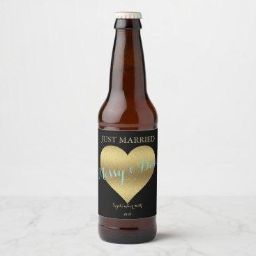McTiffany Tiffany Aqua BRIDE & CO Gold Heart Party Beer Bottle Labels